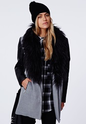 Missguided Orla Faux Fur Leather Biker Sleeve Coat Grey Grey
