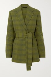 Acne Studios Janine Oversized Belted Double Breasted Checked Linen Blend Blazer Green