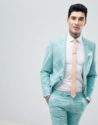 Noose And Monkey Super Skinny Wedding Suit Jacket In Flocking Green