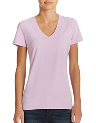 Lord And Taylor Plus Stretch Cotton V Neck Tee Lavender