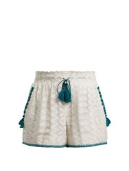 Talitha Zigzag Embroidered Cotton And Silk Blend Shorts Green White