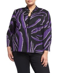 Ming Wang 3 4 Sleeve Graphic Print Knit Jacket Purple