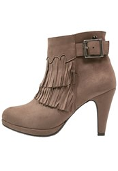 Refresh High Heeled Ankle Boots Taupe