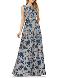 Kay Unger New York Belted Floral Gown W Mitered Stripes And Pockets Tealsilver