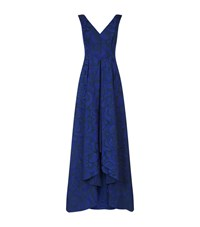 Talbot Runhof Rose Jacquard Gown Female Blue