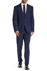 14Th And Union Notch Lapel Front Button Flat Front Pant Wool Suit Blue