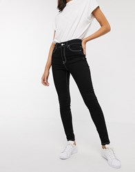 Dr. Denim Dr Erin Skinny High Rise Ankle Grazer Jean With Contrast Stitching Black