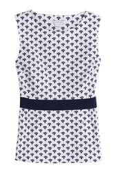 Diane Von Furstenberg Stretch Cotton Printed Sleeveless Top White