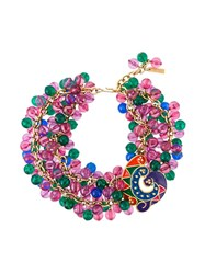 Versace Vintage Bead Embellished Choker Necklace Multicolour