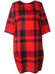 Sofie D'hoore Checked Midi Dress Women Cotton 34 Red