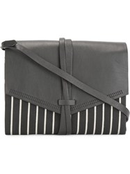 Isabel Marant 'Holly' Striped Clutch Black