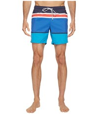 Lacoste Engineered Stripe Swim Medium Length White Navy Blue Loire Blue Sapphire Blue Grenadine Men's Swimwear