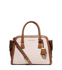 Michael Kors Harper Medium Two Tone Canvas Satchel Ecru Dark Walnut
