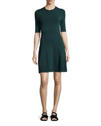 Grey By Jason Wu Short Sleeve Dropped Waist Knit Dress Deep Forest Deep Forest Mari