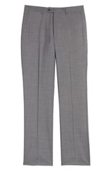 Santorelli Flat Front Solid Wool Trousers Grey