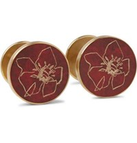 Alice Made This Jessica Rose Bird Poppy Patina Brass Cufflinks Burgundy
