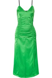 Helmut Lang Ruched Stretch Satin Midi Dress Green