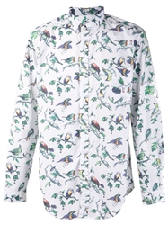 Shades Of Grey Birds Print Shirt White