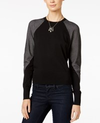Armani Exchange Colorblocked Pullover Sweater Solid Black