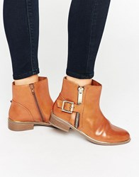 Aldo Buckle And Zip Detail Flat Boots Tan