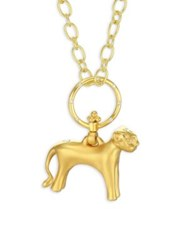 Temple St. Clair Standing Lion Diamond And 18K Yellow Gold Pendant