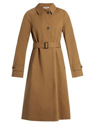 Jil Sander Croquet Single Breasted Cotton Trench Coat Brown
