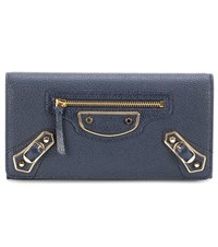 Balenciaga Metallic Edge Money Flap Leather Wallet Blue
