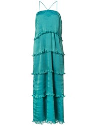 Zac Posen Bay Pleated Tiered Gown Green