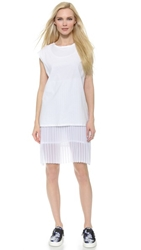 Each X Other Robert Montgomery Minimal X Pleated Mini Dress White