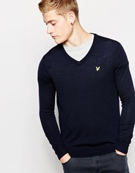 Lyle And Scott Merino Wool Jumper With V Neck Navy