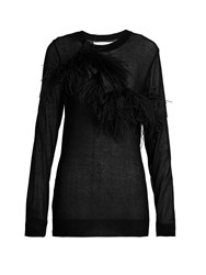 Marques Almeida Feather Trimmed Semi Sheer Top Black