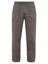 Our Legacy Reduced Striped Crushed Shell Trousers Grey