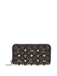 Christian Louboutin Panettone Embellished Zip Around Denim Wallet Black
