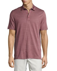 Ermenegildo Zegna Horizontal Herringbone Short Sleeve Polo Shirt Red Dk Red Sld