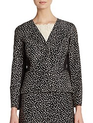 Tory Burch Calf Hair Dot Print Blazer Black White
