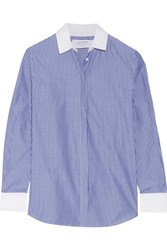La Ligne Striped Cotton Poplin Shirt Blue