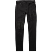 Neil Barrett Slim Fit Leather Panelled Stretch Denim Jeans Black