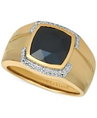 Le Vian Gents Men's Onyx And Diamond 1 6 Ct. T.W. Ring In 14K Gold Black