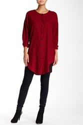 Dee Elle Button Down Flannel Tunic Red