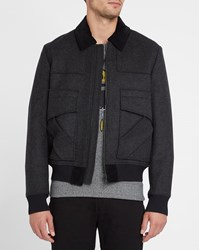 Kenzo Grey Woollen Cloth Lined Jacket With Black Corduroy Collar