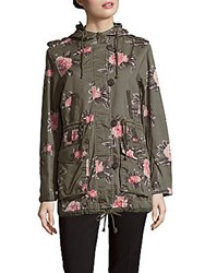 Members Only Floral Print Cotton Zip Front Anorak Multicolor Floral