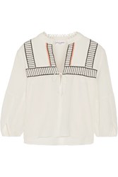 Apiece Apart Loreto Embroidered Cotton Crepon Top Off White