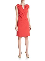 Saks Fifth Avenue Black V Neck Sheath Dress Red
