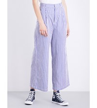 Chocoolate Pinstripe Cotton Trousers Blue