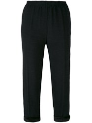 Forte Forte Cropped Tapered Trousers Women Silk Cotton Linen Flax Viscose I Black
