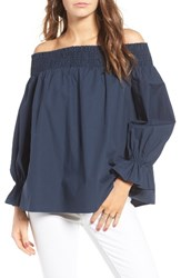 Soprano Women's Bow Off The Shoulder Top Navy