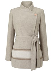 Jacques Vert Asymmetric Colourblock Coat Light Neutral