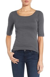 Caslonr Women's Caslon Ballet Neck Cotton And Modal Knit Elbow Sleeve Tee