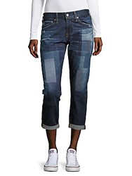 Ag Adriano Goldschmied Printed Cropped Denim Pants Blue