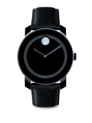 Movado Large Bold Watch Crystal Detail Black